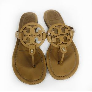 TORY BURCH | Miller sandals tan brown logo shoe 7